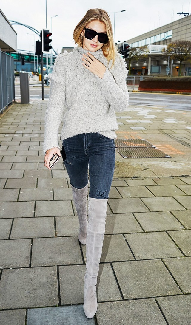 winter weekend outfit-night out outfit-over the knee boots-fringe sweater-grey-greige-gigi hadid