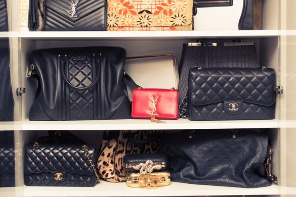 urse organiation-closet organization-line up purses on hshelves-closet organization-celeb closets-shay mitchell-thecoveteur.com