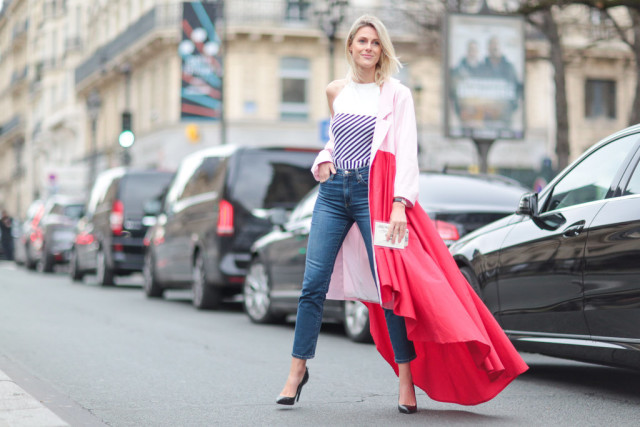 valentines day-skinny jeans-night out-gonig out-two tone colorblock coat-pink and red-paris couture fashion week-getty