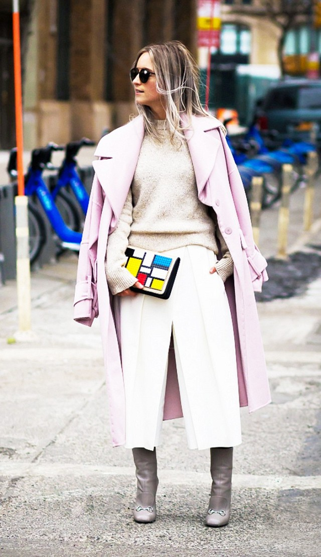 white culottes winter whites-pastels in winter-pastel pink coat-winter work outfit-ps