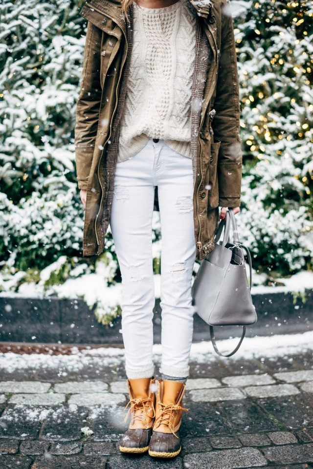 snow outfits, what to wear in a snowstorm, winter outfit, white jeans-fishermansweater-double jacket-army jacket-houndstooth glen plaid blazer-winter whites-duck boots-snow boots-via--