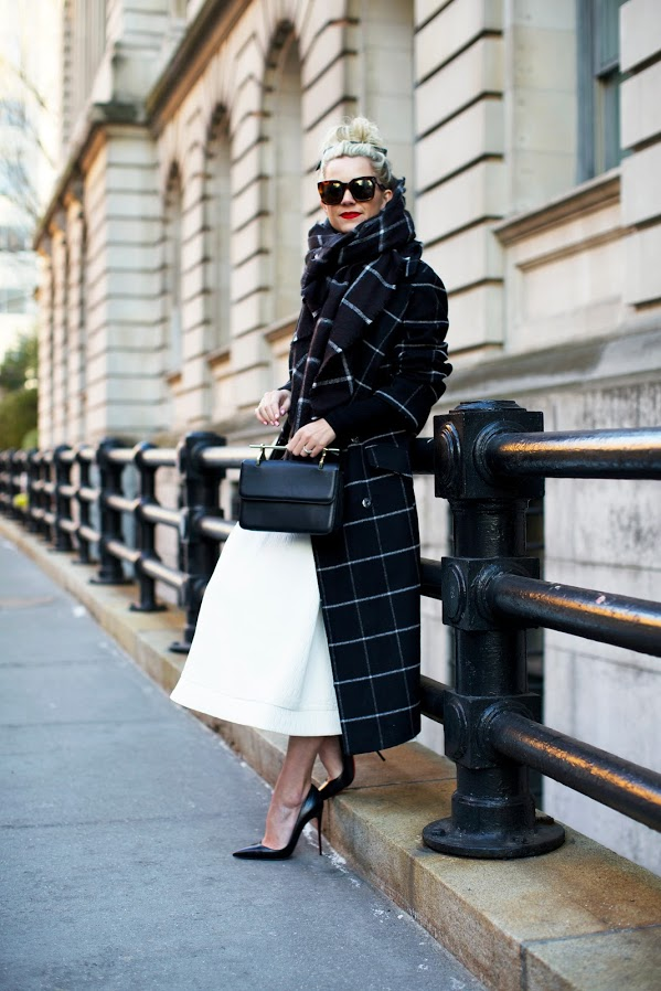 windowpane prints-white skirt in winter-midi skirt-ladylike-winter work outfit-atlantic-pacific