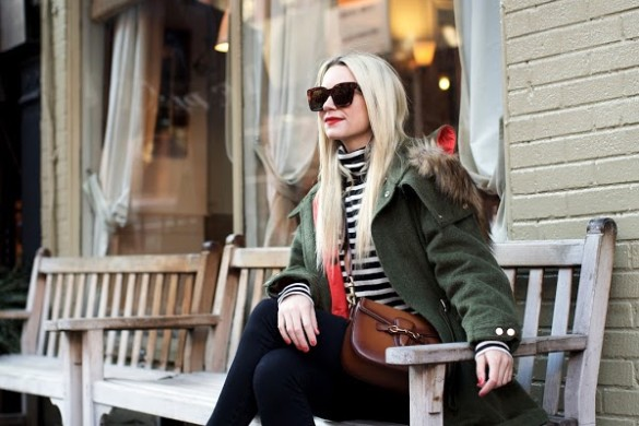 winter weekend outfit-striped turtleneck-green fur trim parka-converse sneakers-black skinnies-casual outfit-atlantic-pacific