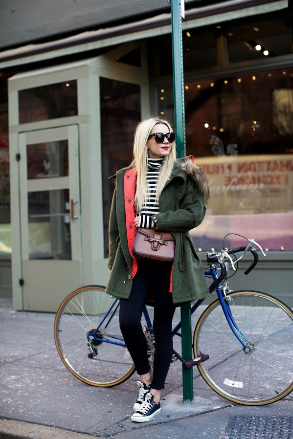 winter weekend outfit-striped turtleneck-green fur trim parka-converse sneakers-black skinnies-casual outfit-2