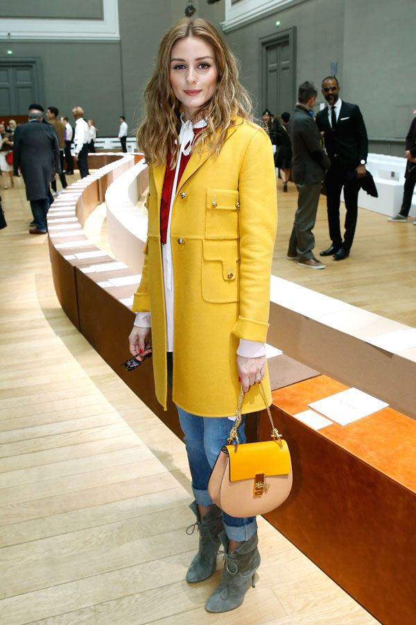 work yellow coat-tie neck blouse-rolled cuffed jeans-olivia palermo-