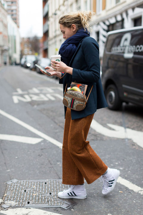 adidas sneakers-high tops-navy blazer pea coat-mini gucci bag-ropped pants-burnt range-scarf-vfw street style-hbz