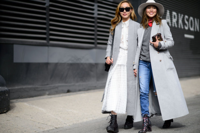 aimee song-printed booties-grey coat-winter whites-wide brim hat-nyfw street style-elle