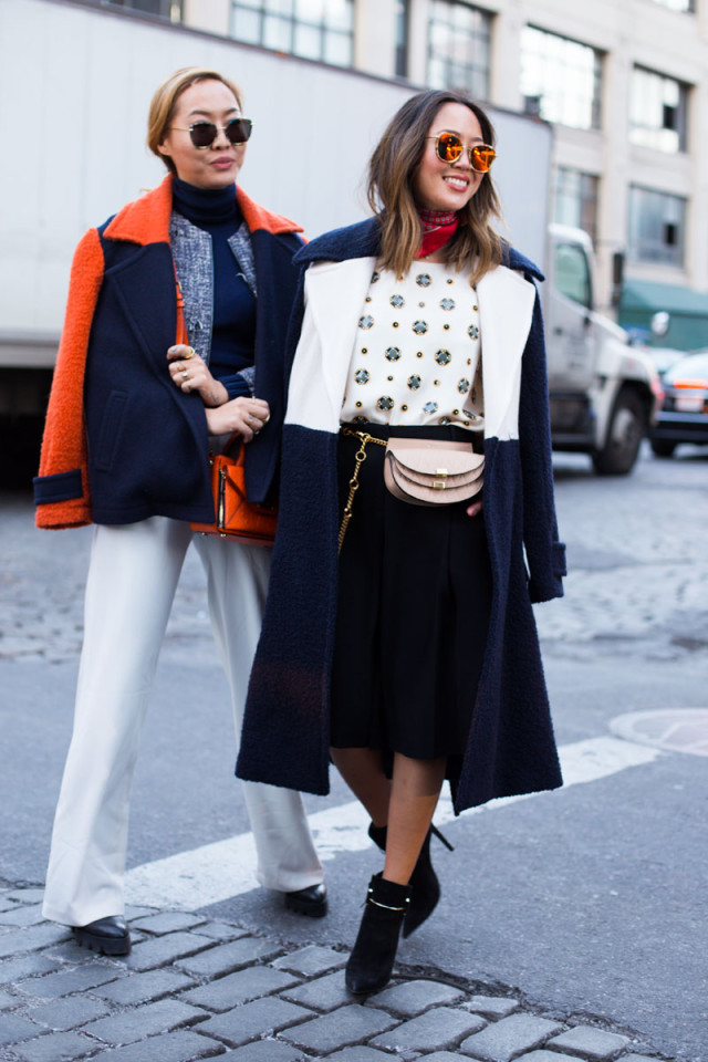 aimee song-white pants winter-orange-colorblock coats-midi skirt-scarf-fannypack-spring to winter-navy and black-knee skirt-