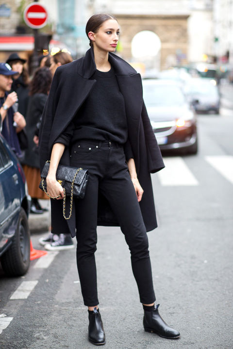 all black-tucked in swaater-chelsea boots-black skinnies-chanel bag-black coat-winter work weekend outfit-hbz