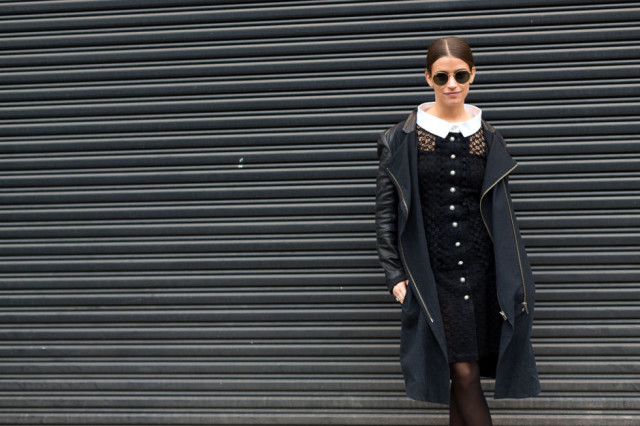 amanda weiner-black coat-mixed material coat-black tights-lace dress-collared drss-work outfit-giong out night out party-wedding-n-nyfw street style-hbz