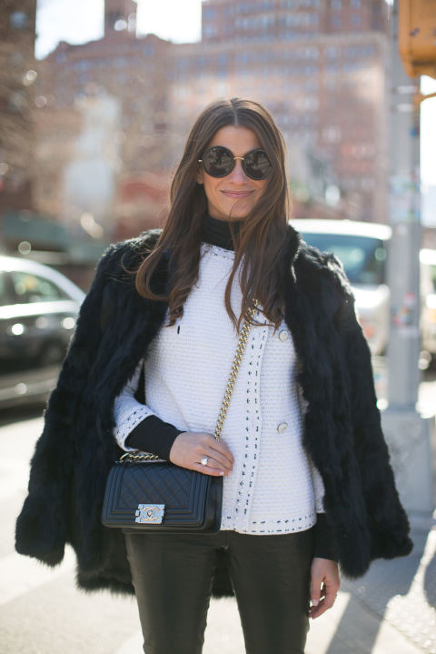 amanda weiner-black leather skinnies-black and white-black fur coat-winter outfits-what to wear when its freezing-nyfw 2016 street style-hbz
