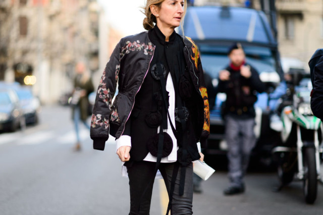 baseball jacket-asisan inspired baseball jacket-snake print-black skinnies-layers-double jackets-sarah ruffin-mfw street style-elle