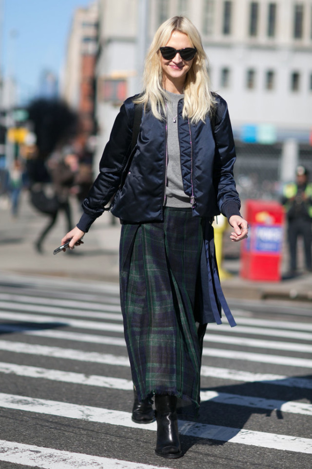 baseball jacket-plaid skirt-maxi skirt-grunge-winter otufit-work outfit-maxi skirts in winter-grey sweater-navy and grey-navy an dblack-zanni rossi-ps-nyfw street style