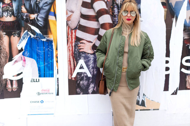 baseball jacket-sweater dress-kerry pieri-nyfw street style-hgbz