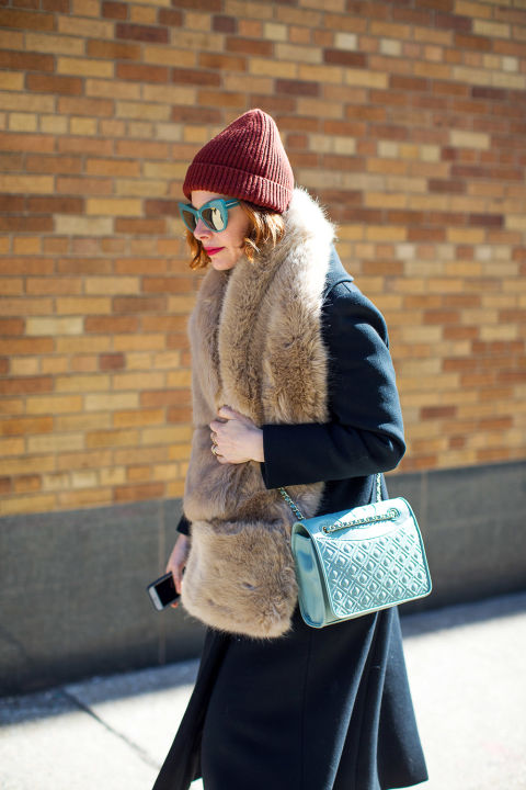 beanie-sunglasses-fur scarf-winter outfits-what to wear when its freezing-nyfw 2016 street style-hbz
