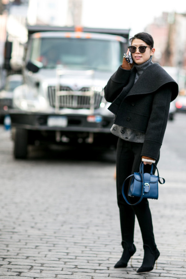 black and grey-black skinnies-grey sweater-black moto jacket-nyfw street style-wheresmydriver inst-going out outfit, nyfw street style, nyfw fall/winter 2016, new york fashion week, winter to spring dressing, winter outfits, what to wear when it's freezing, layering, layers,