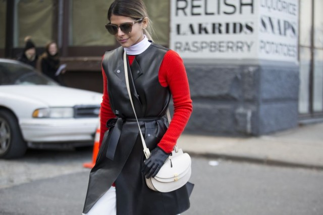 black and red-leather vest-sleeveless coat-turtleneck-gloves-nyfw street style 2016 racked