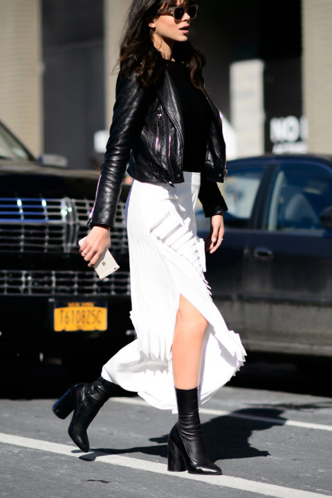 black and white-asymmetrical skirt-black ankle booties-sock booties-black moto jacket-nyfw street style-elle