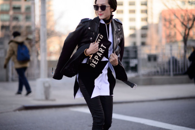 black and white-black moto jacket-back and white tunic-blakc skinnies-nyfw street style-elle