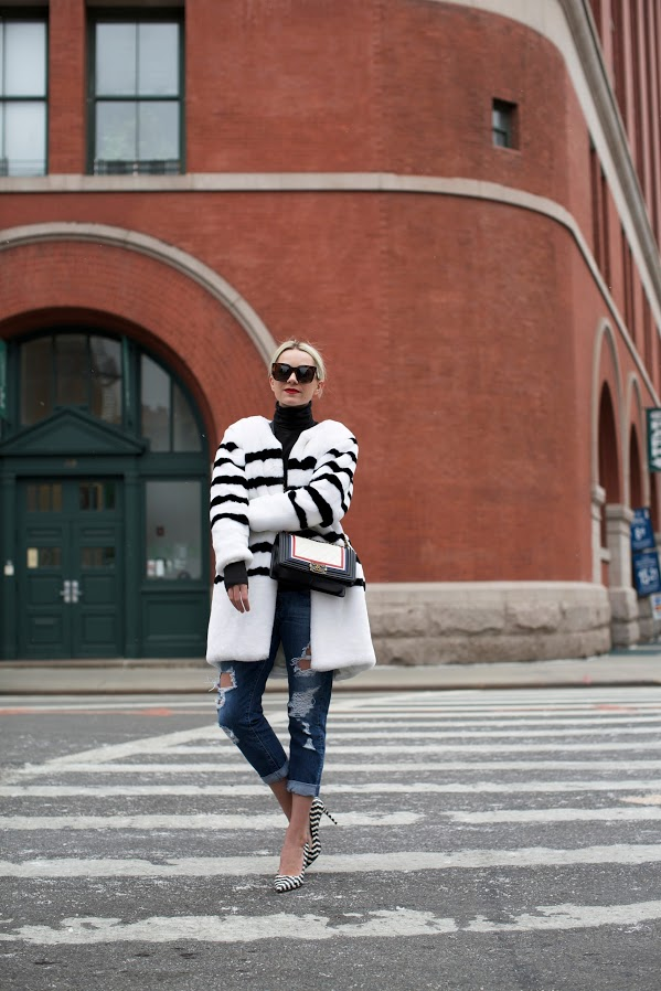 black and white striped fur-colorblock coat-colored fur-rolled jeans-turtleneck-nyfw-atlantic-pacific