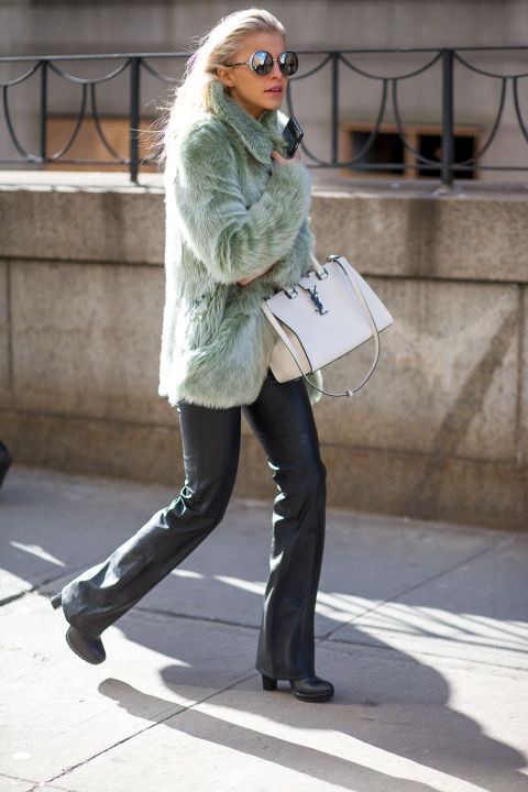 black leather pants flares-colored fur-pastel fur-white bag nyfw street style, nyfw fall:winter 2016, new york fashion week, winter to spring dressing, winter outfits, what to wear when it's freezing, layering, layers, hbz