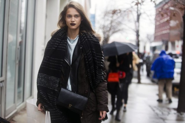 black moto jacket-doulbe jacket-model off duty style-scarf-s-nyfw street style-rac-what to wear in the rain