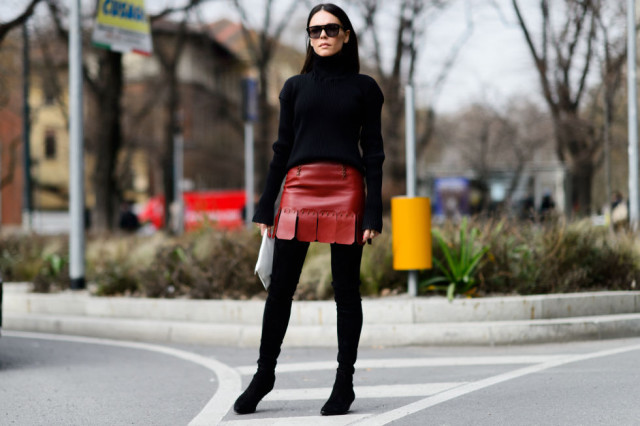 black turtleneck sweater-red leather mini skirt-pleated skirt-carwash pleats-black thigh high boots-work night out office to out-elle-mfw street style