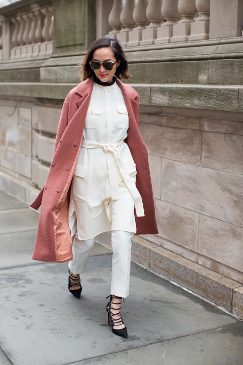 blush bcoat-winter whites-lace up shoes-winter to spring dressing-belted tunic jacket-white in winter-winter outfits-nyfw street style 2016-hbz