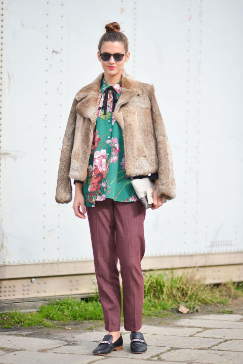 bow blouse-floral shirt-fur bomber jacket-fur coat-tweed menswear pants-loafers-milan fashion week street style-cosmo-getty-winter to spring transitional dressing