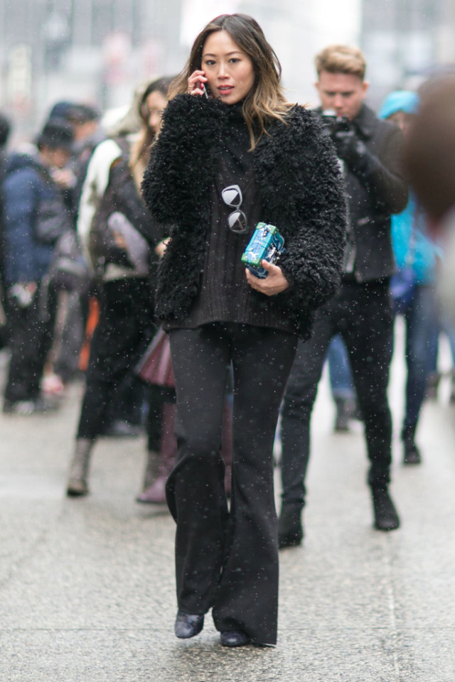 brown and black-black furry coat-textured-black turtleenck-brown sweater-black flares-aimee song-winter work outfit-nyfw street style-ps