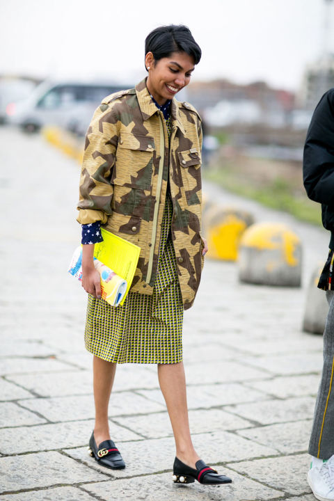 camo-gucci loafers-printed knee s kirt-mixed prints-star rints-work-milan fashion week street style-cosmo
