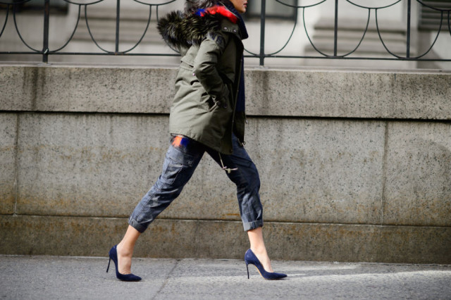 cargo pants-afmry jacket parka-heels-rolled jeans-scarf-elle-winter weekend work night out-going out