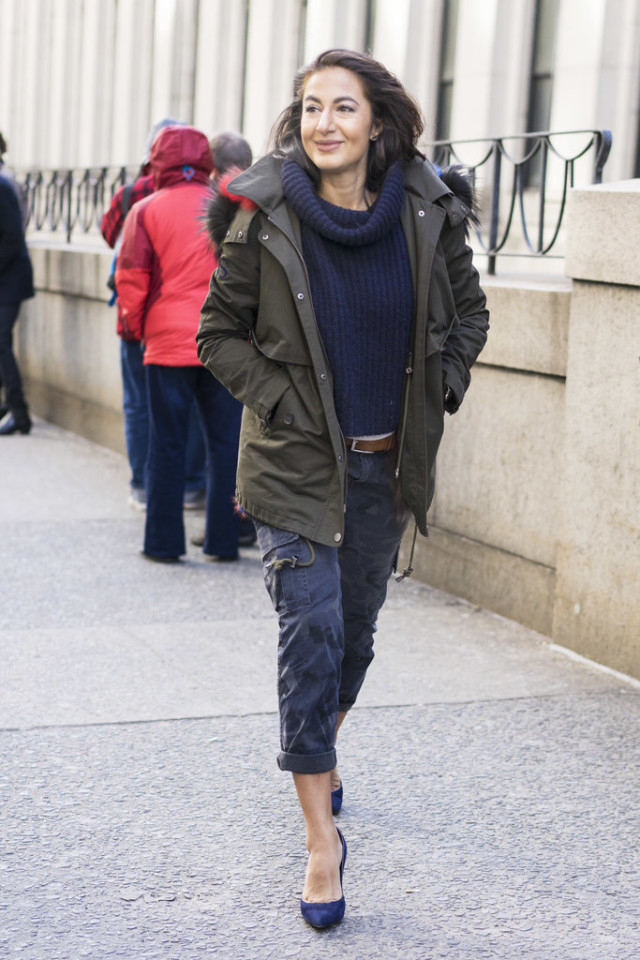 cargo pants army pants-camo-rolled pants-heels-navy-army green parka-fur trim parka coat-belt-turtleneck sweater-nyfw street style-wheresmydriver inst-weekend outfit-brunch nyfw street style, nyfw fall/winter 2016, new york fashion week, winter to spring dressing, winter outfits, what to wear when it's freezing, layering, layers,
