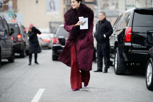 carolina issa-fur trim coat parka-red pants-nyfw street style-elle