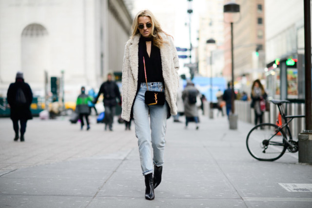 choker necklace-high waisted jeans-jeans and booties-furry coat-nigh tout giong out-ellee, nyfw street style, nyfw fall/winter 2016, new york fashion week, winter to spring dressing, winter outfits, what to wear when it's freezing, layering, layers,