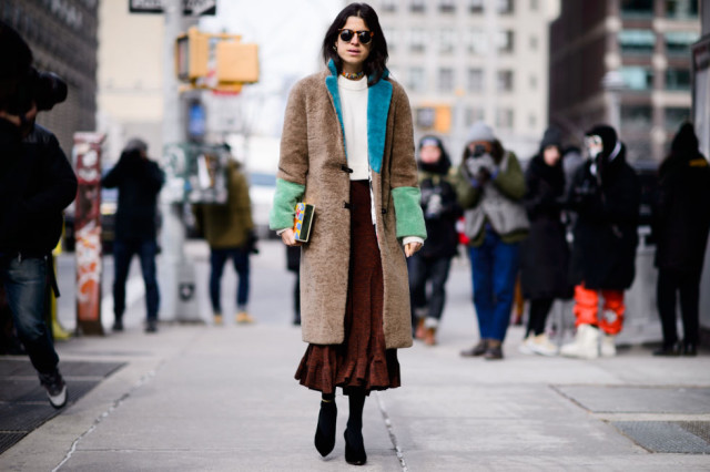 colorblock fur coat-colored fur-midi skirt-booties-sweater-leandra medine-nyfw street style-elle