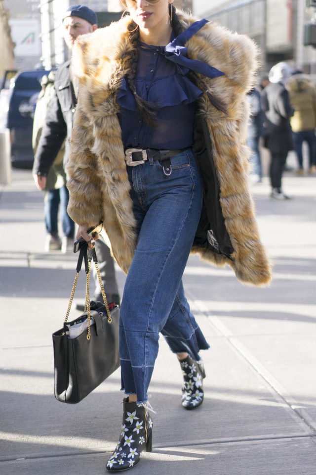 cropped flares-western jeans-frayed hem jeans-printed booties--fur coat-victorian blouse-nyfw street style-ps, nyfw street style, nyfw fall/winter 2016, new york fashion week, winter to spring dressing, winter outfits, what to wear when it's freezing, layering, layers,