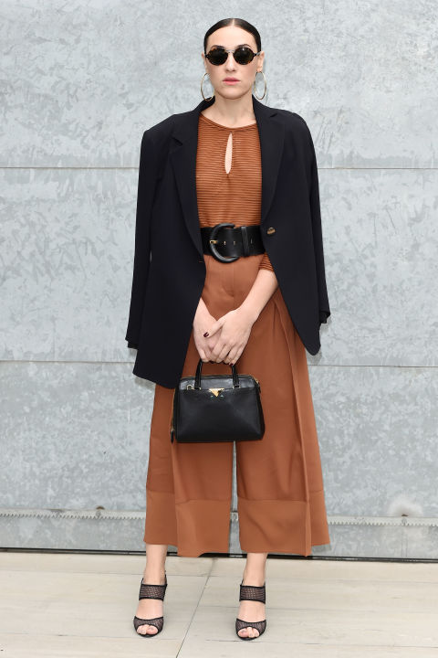 cropped jumpsuit-rust orange-camel-black and camel-belted-black blazer jacket-going out night out office to out-party-mfw street style-hbz
