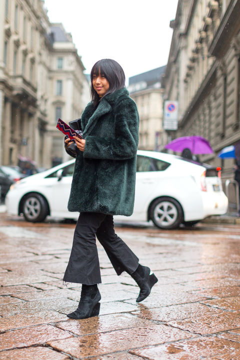 cropped pants and booties-emerald green coat-green and black-platform booties-cropped flares-milan fashion week street style-hbz