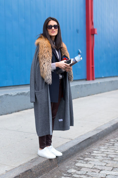 d-double coats-fur trim coat sweater-sweater coat-navy blazer-leather skinnies-white sneakers-winter work otufit-nyfw street style-hbz