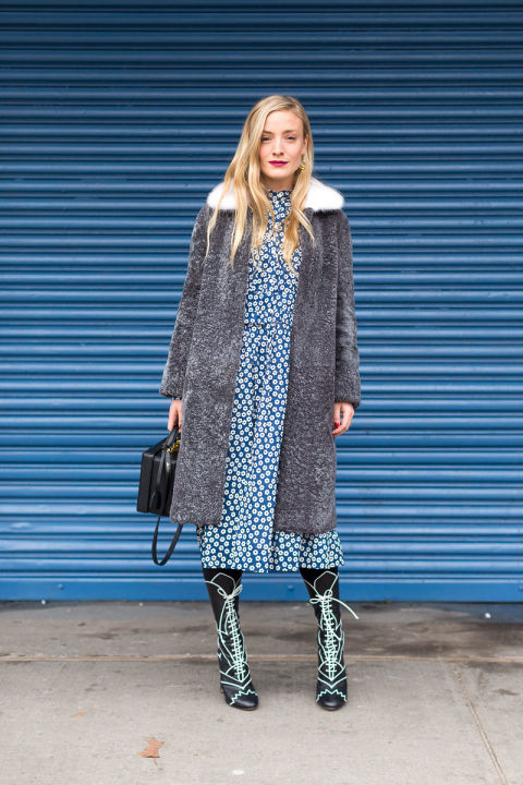 daisy prints-printed dress-spring florals floral iddi dress lace upvictorian booties-fur coat-kate foley-nyfw street style-winter to spring style-hbz