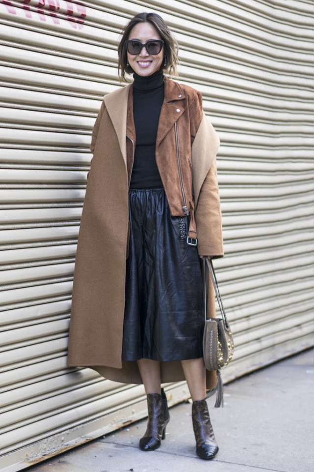 double coats jacket-hair tucked into sweater-turtleneck-brown and black-leather midi skirt-blakc leather midi skirt-turtleneck-moto jacket-suede jacket-booties-