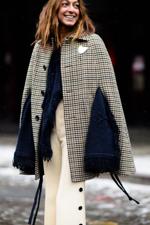 double coats-winter whites-ivory wide leg pants-button side pants-cape-houndstooth-fringe-nyfw street style 2016 elle