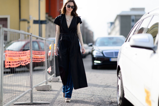 dress over pants-coat as dress-stripes-platforms-winter to spring dressing-mfw street style-elle