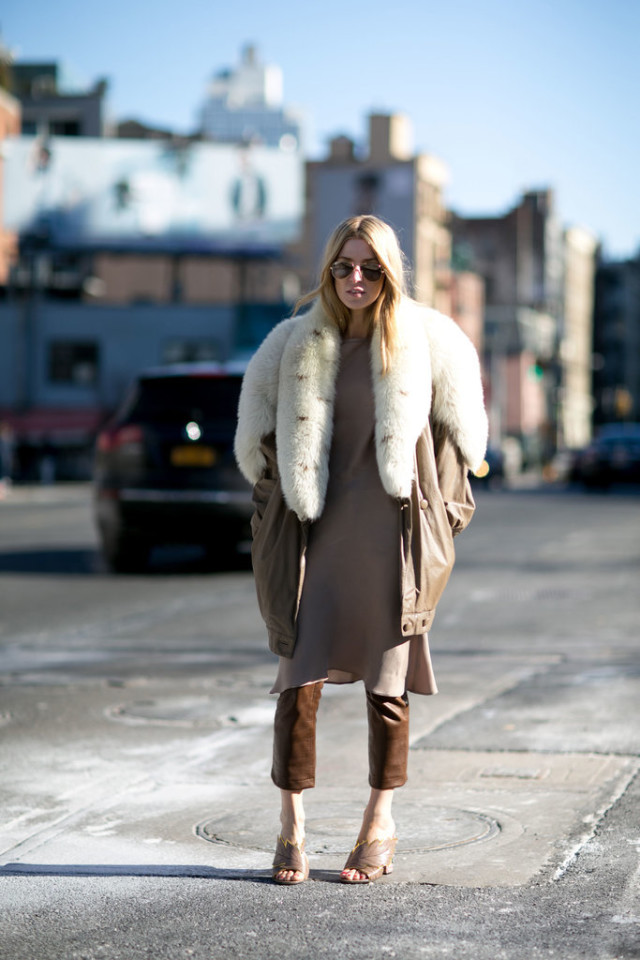 dress over pants-cropped leather pants-brown leather pants-leatehr fur trim jacket-mules-nyfw street style-work-ps