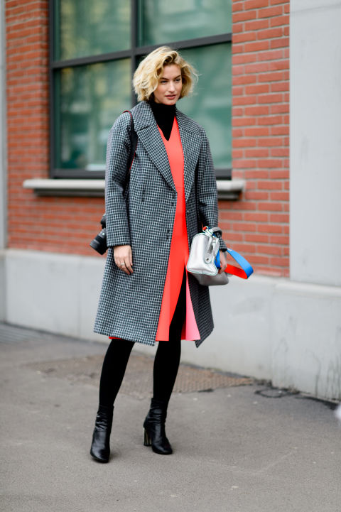 dress over turtleneck-black tights-ankle booties-bright dress-red orange-work-outfit-checkered coat-mfw street style-elle