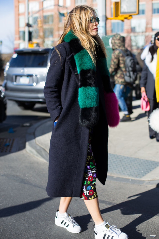 dresses and sneakers-colored fur-printed floral dress-adidas sneakers-fur scarf-navy coat-