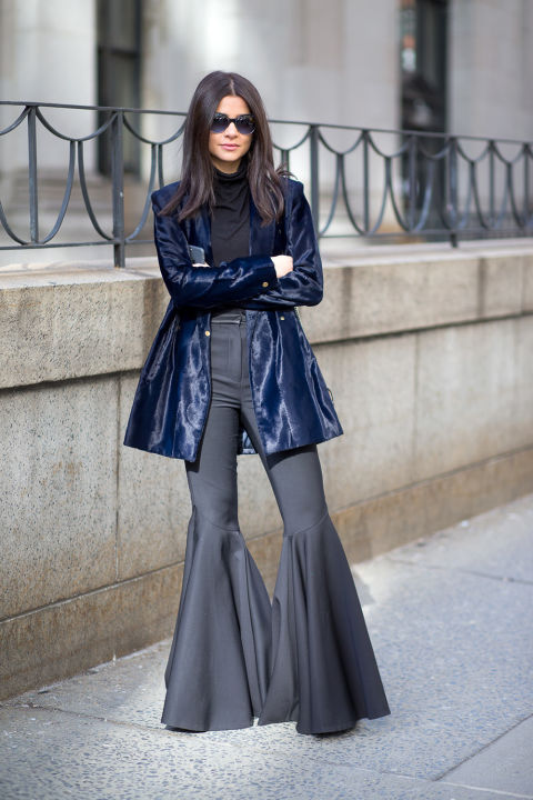 flares-turtleneck-black and navy-velvet jacket-nyfw street style, nyfw fall:winter 2016, new york fashion week, winter to spring dressing, winter outfits, what to wear when it's freezing, layering, layers,-hbz