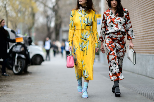 floral prints-spring florals prints-bold florals-yelow coat-coat dress-pajamas-socks socks and sandals-mfw street style-elle.com