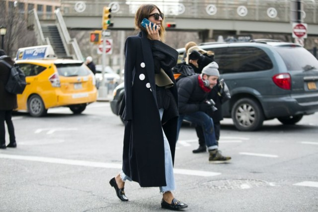 frayed jeans-loafers-black coat-nyfw street style 2016